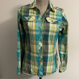 Columbia Green and Yellow Plaid Cotton Button Up Shirt